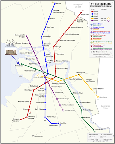The Map of the <a href='http://en.wikipedia.org/wiki/Saint_Petersburg_Metro'>Saint Petersburg Metro (Underground Railway)</a>